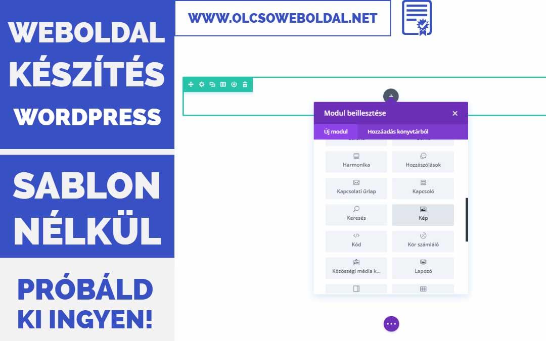 WordPress weboldal készítés sablon nélkül – Divi (2018) #3